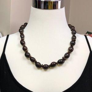 Wooden Beaded Necklace Dark Brown